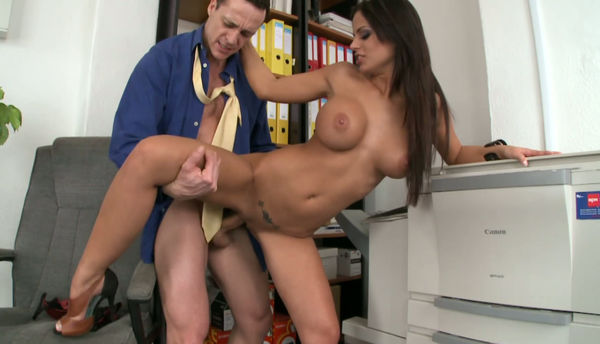 Brunette secretary ally tate gets fucked with her boss