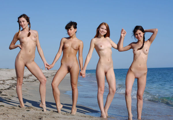 Four pale dolls nude on the beach Nudist Girls Pics