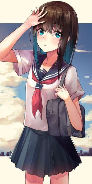 Download 1080x2160 Anime School Girl,..