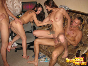 Facialized Teens after a Foursome..
