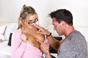 Young babe Blair Williams is happy to..