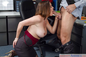 Office milf Krissy Lynn is sucking..