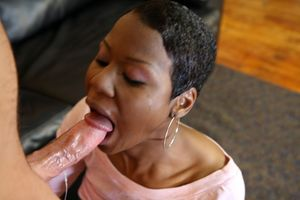 Black girl gives blowjob for nasty cum..