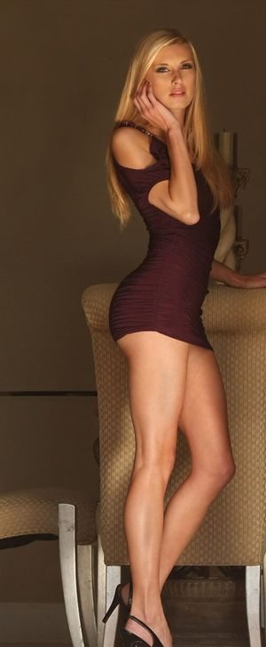 Blonde Hot Legs Barely Contained -..