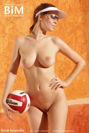 Topless girl playing vollyball - Babe..