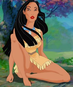 Pocahontas posing naked in the forest..
