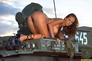 Zuzana Drabinova posing on a tank -..