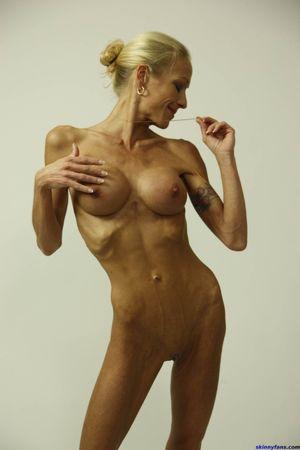 very skinny woman posing nude for food..
