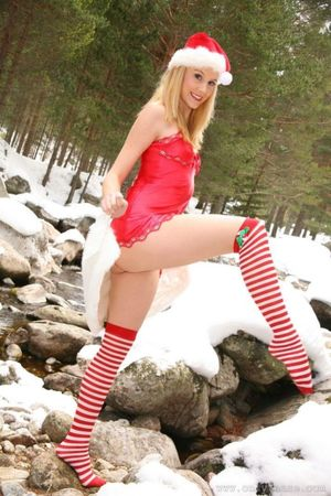 Beautiful Santa Claus girl seductively..