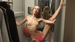 skeleton thin girl Inna posing at home..