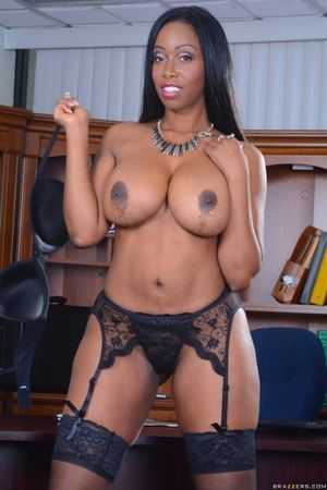 America Moore in black stockings..