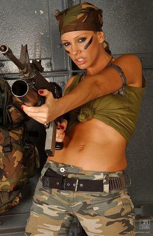 Sandy Sexy Blonde Soldier Stripping..