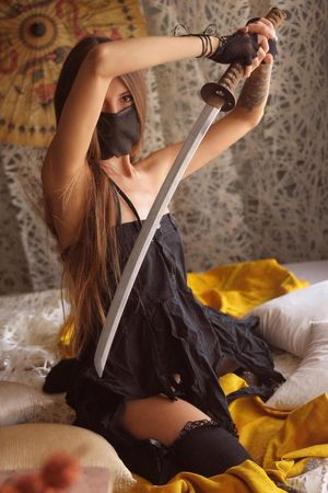 Samurai girl - nude cosplay