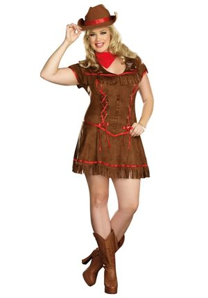 Plus Size Giddy Up Cowgirl Costume -..