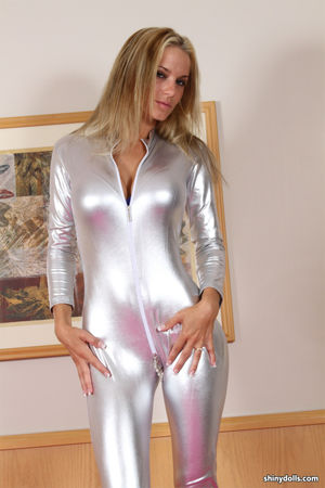 cup cake shiny silver spandex catsuit..
