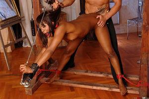 Long legged black sex slave girl gets..