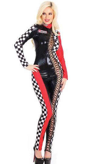 Lace-Up Racer Jumpsuit, Sexy Race..