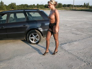 Polish sexy ex wife near a car. (6)..