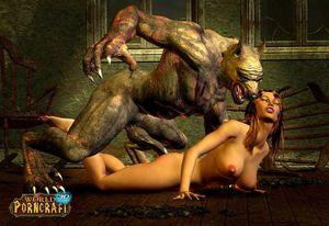 Hung werewolf fucking sweet 3d girl in..