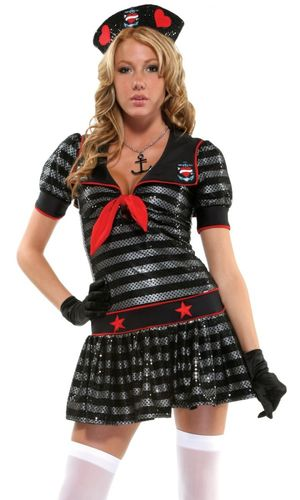 Sexy sailor girl black dress costume..
