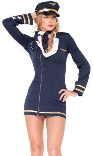 Sexy navy pilot dress costume set..