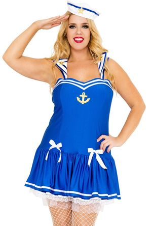 Plus size blue Navy sailor girl..