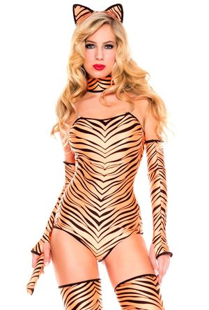 Music legs womens adult tiger bodysuit..