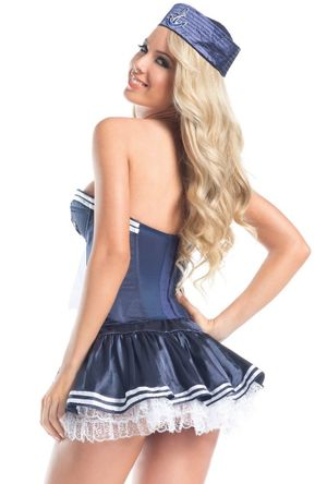 Be Wicked blue Navy sailor girl corset..