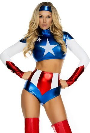 Sexy American flag wonder women romper..