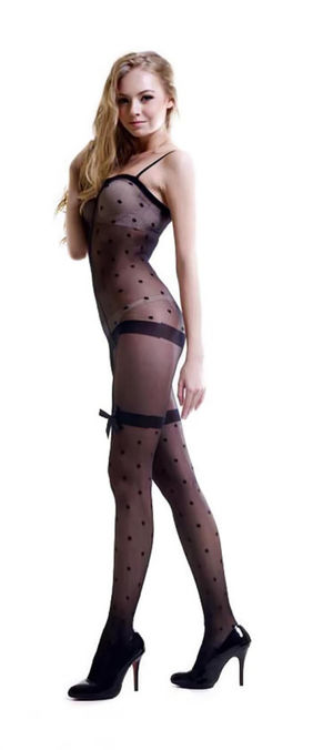 Blancho SE-114 Sexy Black Sheer Dots..