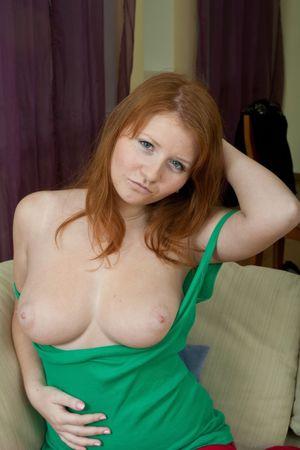 Scarlett busty redhead beauty takes..