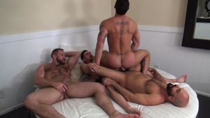 Tate Ryder Gets Three Hairy Muscle..