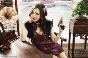 Girl, Asian, dress, pistol, weapon -