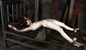 Redhead stretching on rack - Redhead