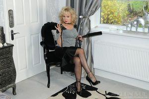 Nylon Sue - Elegant mature model with..