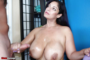 Busty older lady grabs hold of thick..