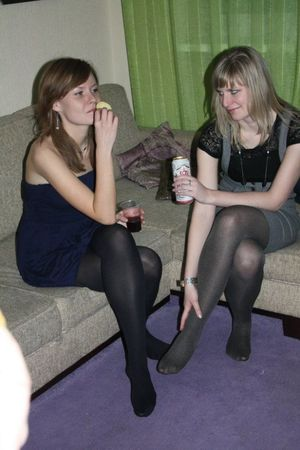 Girls With Legs Drinking
