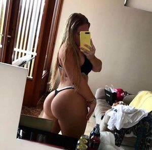 big blonde girl selfie in thong PAWG