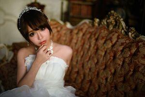 Asian Bride Brown Eyes Brunette Girl..