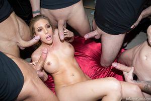 Hot Samantha Saint sucking five cocks..