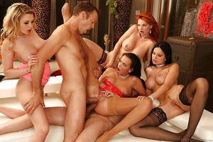 Smoking hot pornstars enjoy a groupsex..