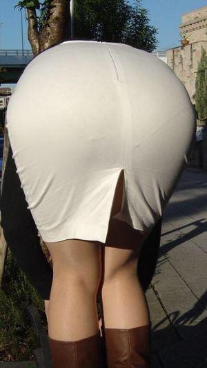 Office Girl Bends Over in Khaki Skirt..