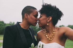 A love-heavy rainy day wedding in a..