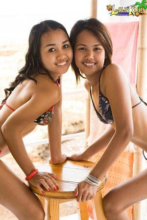 Lily Koh and Joon Mali in tiny bikinis..