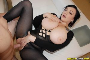 Busty brunette in crotchless..