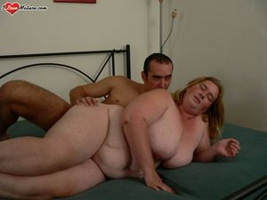 fat mature gets fucked and eats cum -..