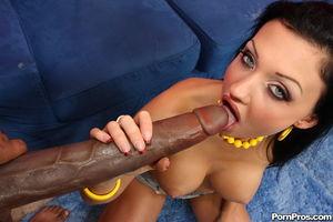 Brunette chick Aletta Ocean takes a..