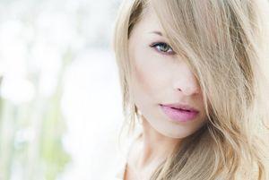 girl blonde hair face eyes eyelash..