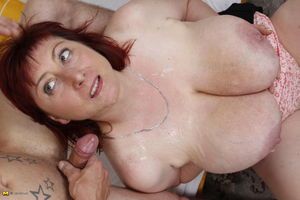 Mature with huge saggy tits having sex..