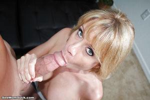 Close ups of mature blonde delivering..